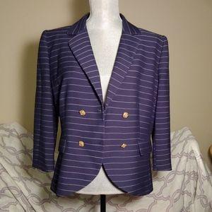 Women's Cremieux Sz 12 Navy Striped Blazer
